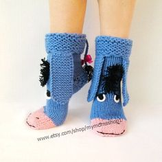 Eeyore knitted socks the donkey from Winnie the Pooh! Cute knit socks Handmade funny k – Knitting Socks Crochet Slipper Boots, Crochet Slippers, Knitting Socks, Baby Knitting, Knit Socks, Warm Socks, Cool Socks, Crochet For Kids, Crochet Baby