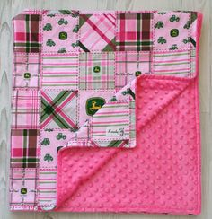 John Deere Pink Patchwork Minky Baby Blanket From by Kemaily, $42.95