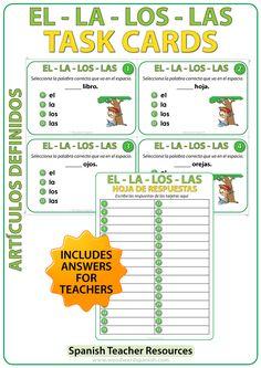Spanish Task cards to practice the difference between EL, LA, LOS, LAS (definite articles). Tarjetas de selección múltiple para practicar los artículos definidos en español.