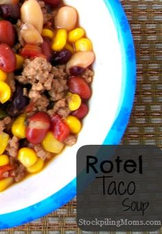 This rotel taco soup is so easy to make in the crockpot and healthy too!  You will love this recipe!