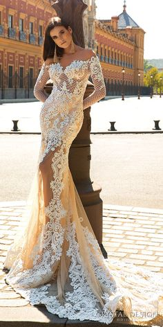 crystal design 2017 bridal long sleeves off the shoulder sweetheart neckline elegant fit and flare lace wedding dress sheer low back chapel train (maricol) mv