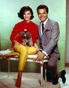RJ and Natalie Wood with one of her poodles - late 50s