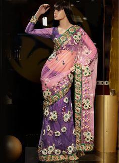 Purple Net Lehenga Saree (CODE:BLR0200146) online from India - IndusDiva.com