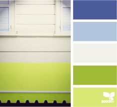 Color: Awning Bright by Design Seeds - purple blue, light blue, white, lime green, light green.