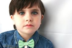 Green and White Striped Clip On Bow Tie or Hair Clip, ready to ship