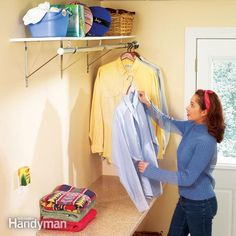 Increase efficiency in your laundry room with these simple storage and organization projects.  Learn how to install a folding table, add a soap dispenser, find space for a hanging rack, install an all-purpose wall cabinet, and create storage space on a laundry tub.