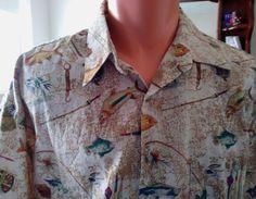 Pierre Cardin Sport Fishing Fly Fishing Print Casual Shirt Lounge Trout Size XL #PierreCardin #Fishing