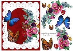 Flowers and Butterflies on a burgundy background with white lace. Flowers and butterflies have decoupage elements.
