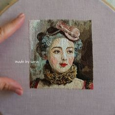 #rococo #threadpainting #dmcthreads #dmcembroidery #craftposure #gustavejacquet #textileart #hoopart #embroidery #needleart #명화자수 #손자수 #디엠씨 #자수타그램 Embroidery Designs, Hand Embroidery Stitches, Embroidery Art, Cross Stitch Embroidery, Portrait Embroidery, Thread Painting, English Paper Piecing, Felt Fabric, Textile Art