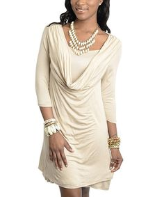 Look at this Khaki Drape-Neck Dress on #zulily today!
