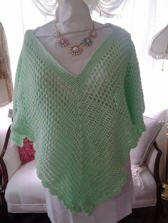 Mint Green Hand Crochet Pull Over Shawl by KlsCrochetCouture on Etsy