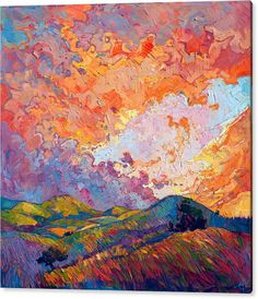 Eh Painting Acrylic Print featuring the painting Lighted Sky by Erin Hanson
