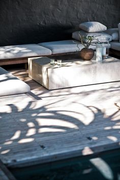 Furniture:Fascinating Terrace Design With White Bolster And Laminated Wooden Floor And Flowervase On Table A Neutral Touch for Your Terrace and Patio Design to Welcome Springtime Outdoor Areas, Outdoor Seating, Indoor Outdoor, Outdoor Decor, Outdoor Lounge, Garden Seating, Rustic Outdoor, Outdoor Cushions, Outdoor Living Rooms