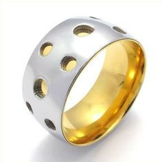 KONOV Jewelry Classic Polished Two-Tone Stainless Steel Ring Band, Gold Silver (Available in Size 7, 8, 9, 10, 11) KONOV Jewelry. $8.99. Width: 11mm (0.43 inches). Material: Stainless Steel. Color: Gold & Silver. Available sizes: 7 - 11