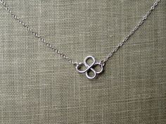 Sterling Silver Four Leaf Clover Necklace Good Luck Charm Shamrock Simple Minimalist Jewelry bridesmaid gifts