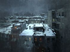 """Rooftops in the Snow"" - 18 x 24 inches. - Oil on Panel"