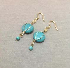 Turquoise Earrings, 14k Gold Filled Earrings, Wire Wrapped Earrings, Gold Earrings, Flat Turquoise, Turquoise Jewelry, Handcrafted Jewelry