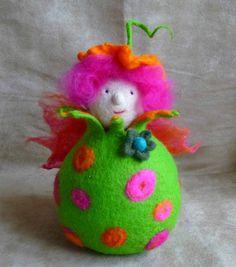 felted fairy doll tea light handmade wool felt by FeltedArtToWear