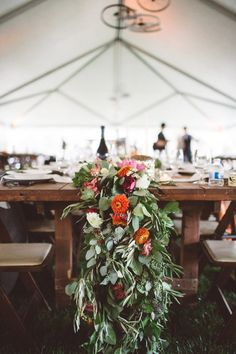 cascading table runner, photo by Kelsea Holder http://ruffledblog.com/paso-robles-wedding-with-moms-wedding-gown #weddingideas #tablescapes