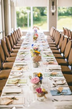 long wedding table decor - Read more on One Fab Day: http://onefabday.com/a-colourful-dromquinna-manor-wedding-by-dave-mcclelland/