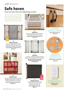 "Safe Haven: Secure your space with these childproofing essentials.  Pregnancy & Newborn's Spring Registry Guide features our One Step Ahead Stylish and Secure Extra Tall Walk-Thru Baby Safety Gate.  ""Once your little one starts crawling, you'll want to keep."" him away from danger by installing safety gates in doorframes and at the top and bottom of your staircase."""