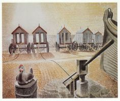 Aldeburgh Bathing Machines by Eric Ravilious 1938 ( Suffolk. Love Painting, Painting & Drawing, Aldeburgh Beach, Galleries In London, Royal College Of Art, Beautiful Paintings, Vintage Prints, Vintage Artwork, Illustrators