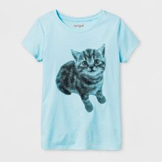 Your little feline lover will be all over the Short-Sleeve Cat Graphic T-Shirt from Cat & Jack™. A sweet kitten adorns this light blue short-sleeve tee for a simply cute and soft look. Whether she's off to school, hanging out at home or headed to her next play date, she can sport her favorite pet wherever she goes. Pair with jeans and sneaks for a casual look, or jogger pants and high-tops for a cute loungewear ensemble.