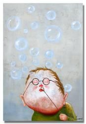 'Blowing Bubbles' Hand-painted Canvas Art $377