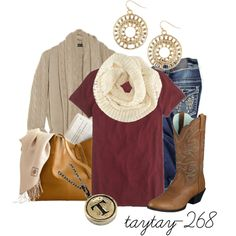 """longing for pumpkin spice, leaves, boots, and hay rides"" by taytay-268 on Polyvore"