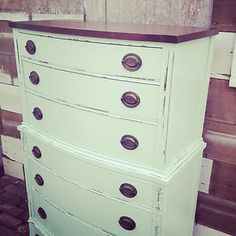Antique highboy dresser. Solid mahogany. Dovetail joints. Painted & distressed. | eBay