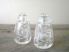 Vintage Crystal Salt and Pepper Shakers by 22BayRoad on Etsy, $15.00
