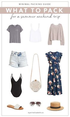minimal packing classic style minimal fashion what to pack for a weekend trip weekend getaway summer Weekend Trip Packing, Travel Packing, Weekend Trip Outfits, Travel Tips, Travel Ideas, Travel Capsule, Beach Vacation Packing List, Travel Outfit Summer, Summer Outfits