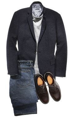 Two-button wool jacket ($328), fleece sweatshirt ($55), cotton shirt ($70), cotton jeans ($96), and leather shoes ($155) by J. Crew. Read more: http://www.esquire.com/blogs/mens-fashion/frank-muytjens-profile-1010#ixzz1jpOBMfd4