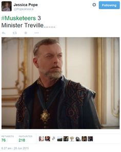 The Musketeers - Series III BtS filming via Jessica Pope's Twitter (Minister Treville) Oooo....