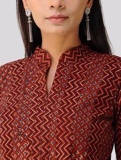 Madder Ajrakh-printed Cotton Anarkali Kurta Churidar Neck Designs, Kurta Neck Design, Salwar Designs, Kurta Designs Women, Kurti Designs Party Wear, Neck Designs For Suits, Dress Neck Designs, Blouse Designs, Designer Salwar Kameez