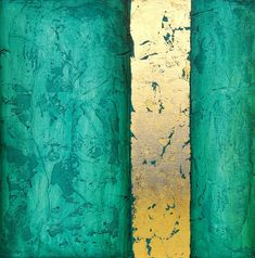 Aqua and gold Modern Art Textured Acrylic by avaavadonstudio, $125.00