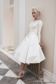 house of mooshki wedding dresses fall 2014 martha tea length gown long sleeves