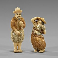 Two Old Carved Ivory Netsuke: Foreigners Two old carved and realistically lacquered ivory netsuke; of foreigners (Dutch or Portuguese) each with sword, both signed