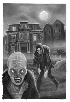 """The Shadow Over Innsmouth by Ian Daniels - 8-1/2"""" x 11"""" Oil on primed paper"""