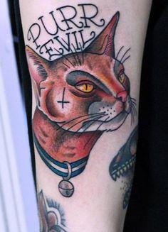 Purr Evil tattoo by Johan Bigfatjoe Ankarfyr
