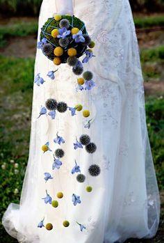 Blue yellow bouquet wedding