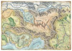 Map of Vaasa; a region in the world of The Forgotten Realms by Mike Schley Fantasy City Map, Fantasy World Map, Fantasy Places, Vintage Maps, Antique Maps, Cthulhu, Dnd World Map, Imaginary Maps, Map Layout