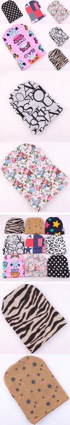 1PC Warm Cotton Baby Print Bow Hats Toddler Beanies Cute Baby Girl Boy Cap Skullies Xmas Gift DYY1640