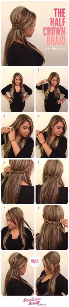 Half up half down Crown Braid hairstyle tutorial.