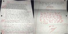 Jovem devolve carta de desculpas de ex-namorada corrigida