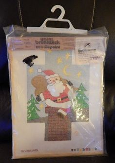 Vintage NIP Brunswick Cotton Canvas Needlepoint Kit Christmas Santa Chimney P504 #Brunswick