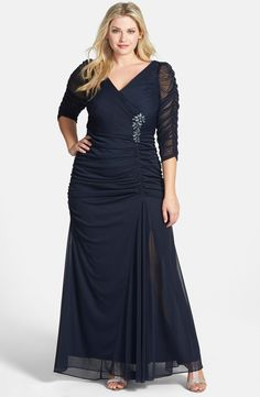 Free shipping and returns on Adrianna Papell Beaded Mesh Gown (Plus Size) at Nordstrom.com. Ruched mesh overlays a statuesque V-neck gown fashioned with sheer three-quarter sleeves and a beaded floral embellishment that anchors the gathered waist.