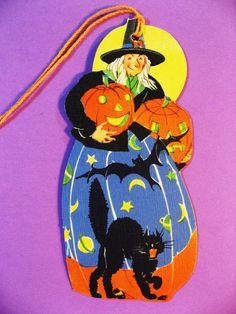 Vintage Halloween Witch Bridge Tally, Bat, Scary Cat, Jack-O-Lanterns, Unused