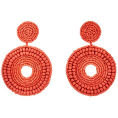 Kenneth Jay Lane Women's Beaded Drop Earrings found on Polyvore featuring jewelry, earrings, red, red hoop earrings, red jewelry, post earrings, beading earrings and hoop earrings