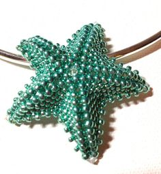 Turquoise Seed Bead Starfish Pendant on Etsy, $19.00